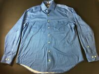 Peter Millar Mens Blue Geometric Front Pocket Button Front Shirt Size Large