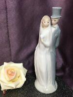 "LLADRO 6"" BRIDE & GROOM WEDDING CAKE TOPPER FIGURINE COUPLE PORCELAIN NAO"