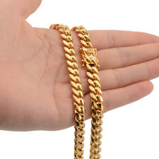 Mens Miami Cuban Link Bracelet or Chain Necklace 18k Gold Plated Stainless Steel
