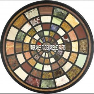 Black Round Marble Countertops Coffee Table Mosaic Inlaid Outdoor Decor H3970