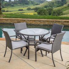 Outdoor Round Dining Table Patio Furniture Grey Wicker Iron Modern Garden Deck