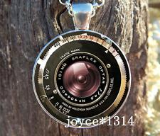 Vintage Camera lens Cabochon Tibetan silver Glass Chain Pendant Necklace #505