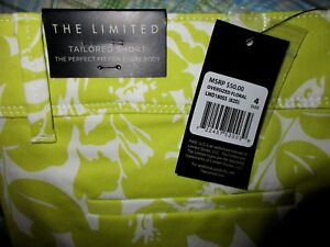 The Limited-Tailored Shorts-Green White-Size 4 - NWT #Y4