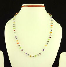 STERLING SILVER NECKLACE NATURAL MULTI AMETHYST PERIDOT CITRINE GEMSTONE 8 GM.