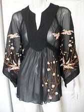 WMNS S / M ORIENTAL SHEER BLACK LS BLOUSE W/ EMBROIDERY by EXPRESS