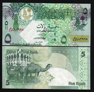 QATAR 5 RIYAL P21 2008 CAMEL FALCON UNC GULF ARAB GCC ANIMAL MONEY BILL BANKNOTE