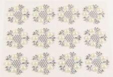 12 PEARL & DIAMANTE Embellishments Self Adhesive Flowers Crystal Gem Approx 25mm