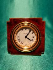 CARTIER VINTAGE 8-DAYS DESK ALARM CLOCK SWISS MOVEMENT TORTOISE BROWN FINISH.