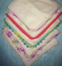 5 - Vintage Hankies - White w/Lace Crochet Tatted Colorful Edges
