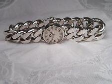 ältere Uhr G Krone 800 Silber dickes Kettenarmband funktioniert 20,3 cm / 87 g