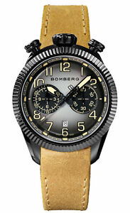 Bomberg Men's NS44CHPBA-200-9 BB-68 Vintage 44mm Gray/Black Dial Leather Watch