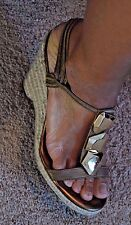 DVF Diane Von Furstenburg 7 M Gold Wedge Espadrille Sandal Cocktail