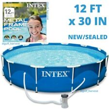 """Intex 12' x 30"""" Metal Frame Round Above Ground Swimming Pool with Pump - New"""
