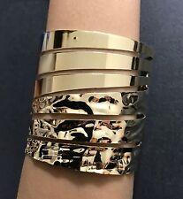 Gold Tone Wide Cuff Spiral Bangle Bracelet Wonder Woman - Usa Seller