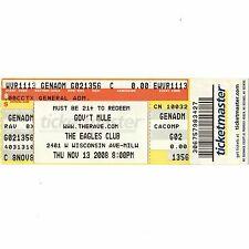 Govt Mule Concert Ticket Stub Milwaukee Wi 11/13/08 Eagles Club Allman Brothers