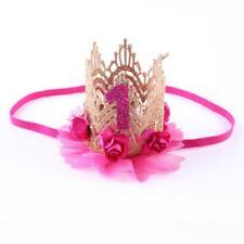 Cute Baby Kid Girl Crown Princess Hair Clip Gold Lace Pearl Headband Tiara Party