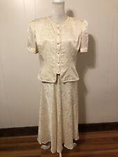 Vintage 80s 90s 100% Silk Skirt Suit Cream Floral Print Sz 14 Maggy London