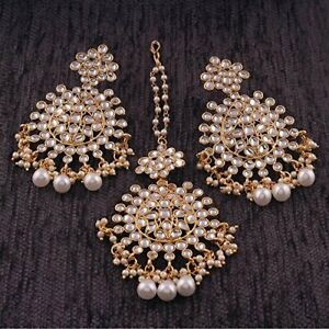 Gold Plated Kundan & Pearl Earring Set with Maang Tikka for Womens Indian Jewelr