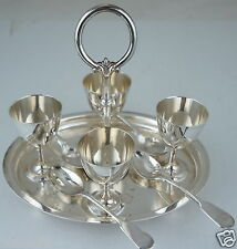 ANTIQUE SILVER PLATE 4 SOFT EGG CUP/ GOBLET/ HOLDER SERVING TRAY,SPOONS