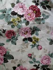 "STUNNING SUMMER VINTAGE CREAM FLORAL GARDEN FULLY LINED PLEAT CURTAINS W42"" D90"""