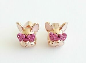 Kate Spade Francois French Bulldog Stud Earrings Rose Gold