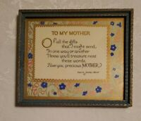 """Vintage """" To My Mother """" Motto Poem Print Carrie Jacobs-Bond pink blue floral"""