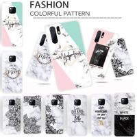 For Huawei Mate 20 Pro P Smart Plus Shockproof Marble Matte Soft TPU Case Cover