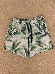 H&M men's swim shorts with banana leaves palm trees on size S