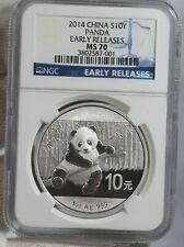 2014 China Silver Panda S10Y Coin, NGC MS 70 EARLY RELEASES PERFECT COIN