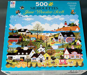 JANE WOOSTER SCOTT ART SUNDAY IN NEW ENGLAND 500 Piece Jigsaw Puzzle Silhouettes