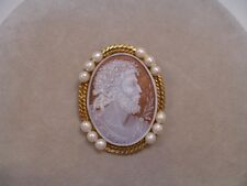 Sterling Silver 14K Wash Pin Brooch Pendant Vintage Italy Shell Cameo Of A Man