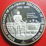 1989 TURKS CAICOS 20 CROWNS SILVER COLUMBUS EXPLORES THE CARIBBEAN (1492-1992)