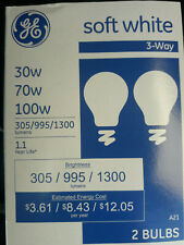 2 (Two) Bulbs // 'GE' Soft White [3 way] Light Bulbs // 30/70/100w  //