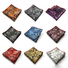 Mens Stylish Floral Paisley Pocket Square Handkerchief Wedding Party Hanky NEW