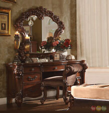 Vendome Victorian Luxury 7-Drawer Bedroom Vanity Set in Traditional Brown Cherry