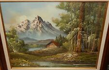 SONI SNOW MOUNTAIN RIVER SHACK OIL ON CANVAS LANDSCAPE PAINTING
