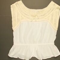 Anthropologie HD in Paris Crochet Lace Peplum Top Womens Size 00 Sleeveless