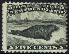 NEWFOUNDLAND 1862 SEAL 5C BLACK NO GUM