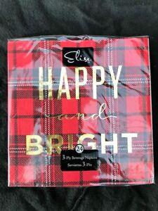 24 Luxury Happy & Bright Red Tartan Beverage Napkin Christmas New Year Hogmanay