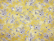 FINCH TOILE BUTTERCUP CURTAIN FABRIC YELLOW BIRDS FLORAL DE JOUY SOFT FURNISHING
