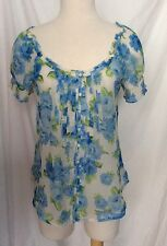 Women's Abercrombie & Fitch Sheer Floral Blouse Blue Top Size M