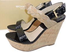 $650 Michael Kors Collection Amelia Cork Chain Black Sandal Wedge 37.5 Slingback