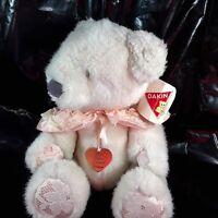 Dakin Peaches Teddy Bear Stuffed Animal Plush White Pink Jointed Valentines Day