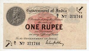 British India 1 Rupee 1917 B-1 Prefix 1 Holde Cek Photo Original RARE