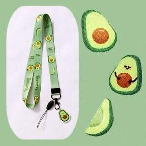 Healthy Green Avocado Vegan Egg ID Neck Strap Lanyard Charm Kawaii Funky