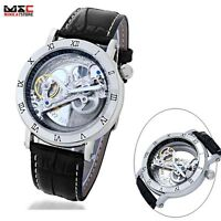Men's Hollow Steampunk Bridge Skeleton Leather Automatic Mechanical Wrist Watch