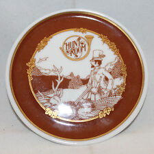 """HUTSCHENREUTHER Hunt Room Decorative Brown Gold Small Plate Germany 9.7cm 3 7/8"""""""