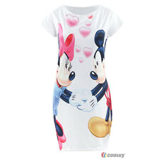 Women Minnie Mouse Mini Dress Short Sleeve Party Casual Tunic Bodycon Dress 6-16