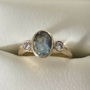 9ct Yellow Gold Aquamarine and Diamond Ring