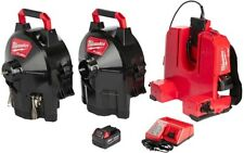MILWAUKEE Cordless Drain Cleaning Switch PACK Sectional Drum System Kit Backpack